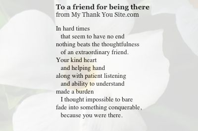 Thank You for Being You Poem | Thank you poem to a friend. | Thank You Cards, Thank You Notes, Poems ...
