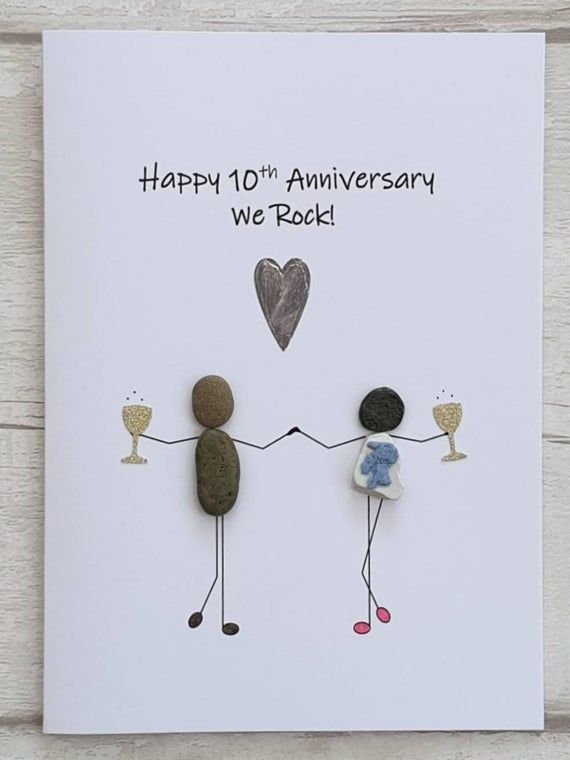 Happy 10th Anniversary Card For Her Tin Anniversary Handmade Etsy Anniversary Cards For Couple Happy 10th Anniversary Anniversary Cards