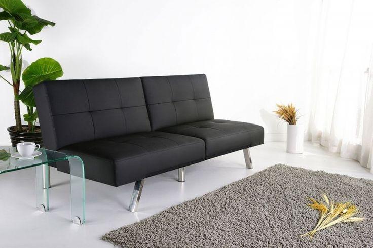 Leader Lifestyle Royale Black Luxurious Foldable Faux Leather Futon Sofa bed