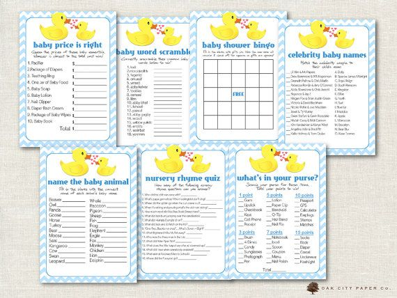 Rubber Ducky Baby Shower Games  Rubber Duck by OakCityPaperCompany