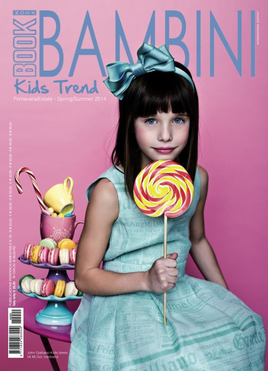 Magazine Cover! John Galliano Kids dress, Mi.Mi.Sol. hairband. #bookmodamag #kids #childrenswear #girl #kidfashion #style #look #johngalliano #dress #mimisol #hairband #pink @MiMiSol