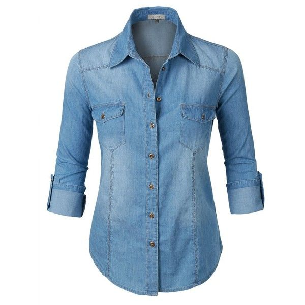52dacff6c81 LE3NO Womens Long Sleeve Button Down Denim Shirt with Pockets ( 16) ❤ liked  on Polyvore featuring tops