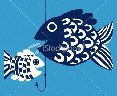 Two Fish and a Hook Royalty Free Stock Vector Art Illustration