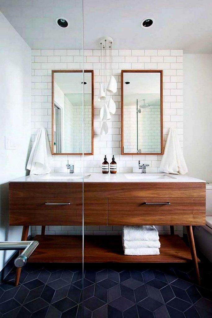 Cool Mid Century Modern Bathroom With Dark Colored Floor Tiles Using Stylish Vanity Desig Bathroom Inspiration Mid Century Bathroom Mid Century Modern Bathroom