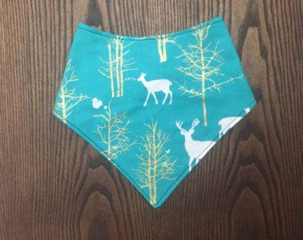 teal and gold deer and tree bandana bibs hunting bandana bib stylish toddler or babyEdit Listing - Etsy