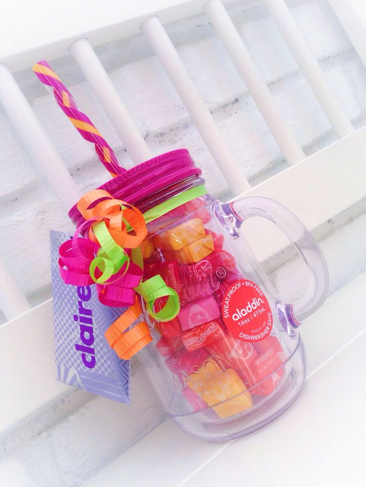 Sweet and simple gift for birthdays, teacher appreciation and more. Mason jar or tumbler fill with candy and gift card. This one is a birthday gift for a teen.