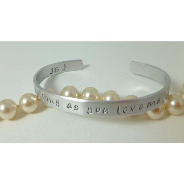 """Justin Bieber, inspired Jewelry. Hand stamped cuff Bracelet with"""" As... ($13) ❤ liked on Polyvore"""