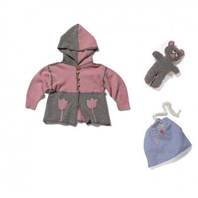 "Spring body warmer ""Tulip"". The body warmer with a comfortable hood is made from felted sweaters; the jerkin has been decorated with a tulip appliqué and wood buttons like those made in the 50's. All little girls will love the warmers."