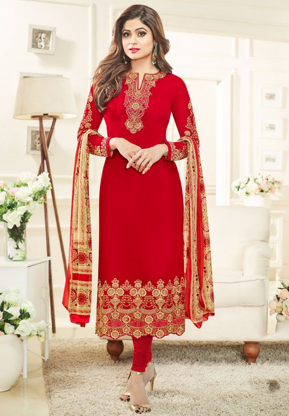 Shamita Shetty Hot Red Embroidered Suit
