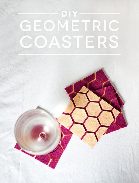 Very easy DIY felt geometric coasters.  I have a friend who is into giraffes and would love these.  http://cieradesign.com/2013/03/01/how-to-make-geometric-felt-coasters/#
