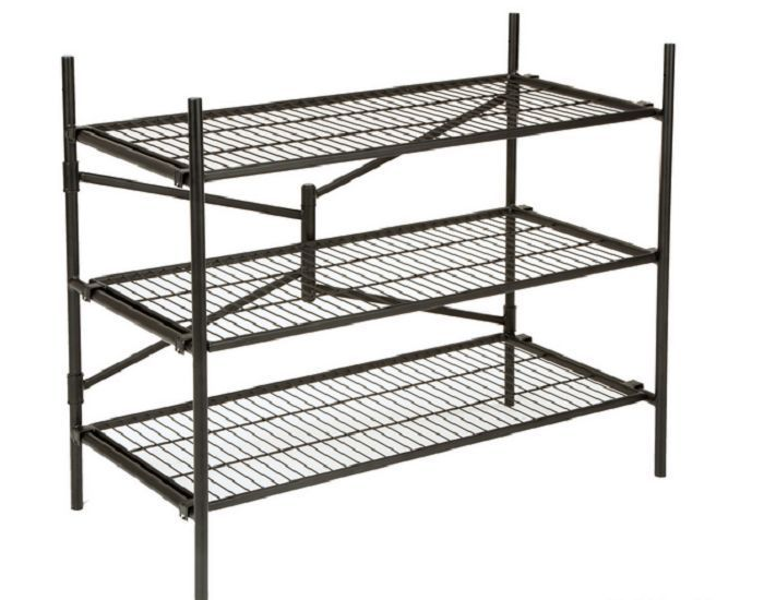 industrial wire rack 3 tier folding steel storage shelves heavy duty organizer