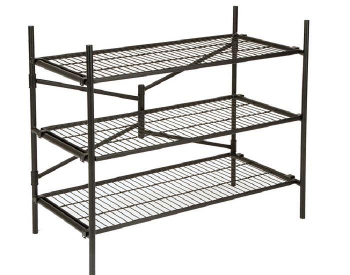 Industrial Wire Rack 3 Tier Folding Steel Storage Shelves
