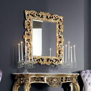 Stil-Spiegel / rechteckig / Holz / gold