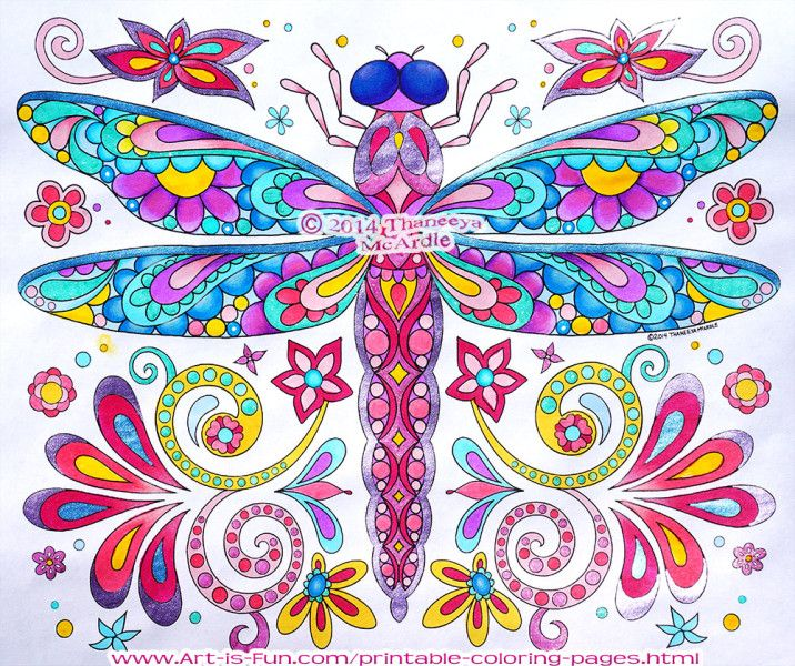 Dragonfly coloring page by thaneeya mcardle from groovy Hippie animals coloring book