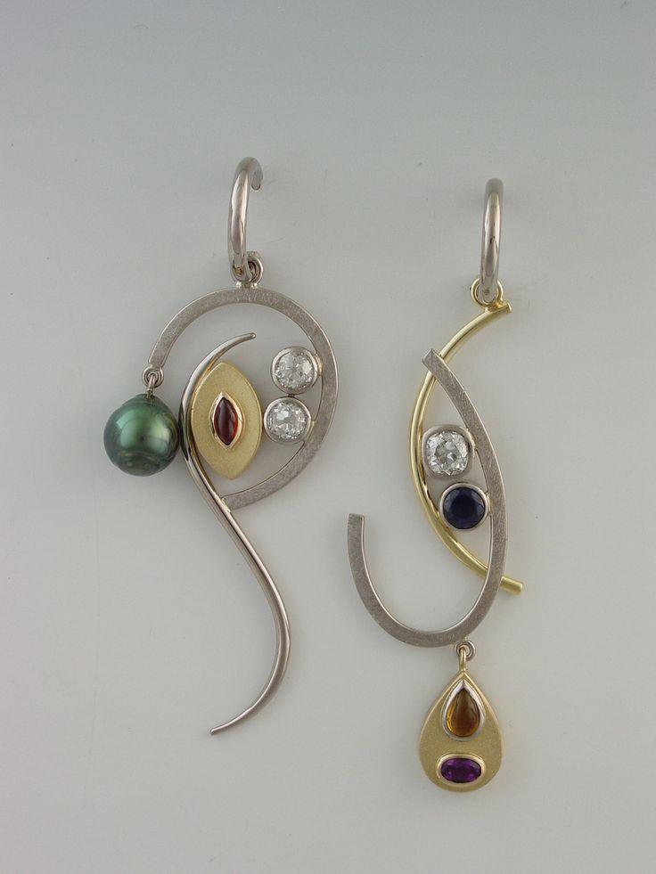 Janis Kerman Design - 18kt palladium white and 18kt yellow gold, Tahitian baroque pearl, diamond, garnet, sapphire, citrine, amethyst.