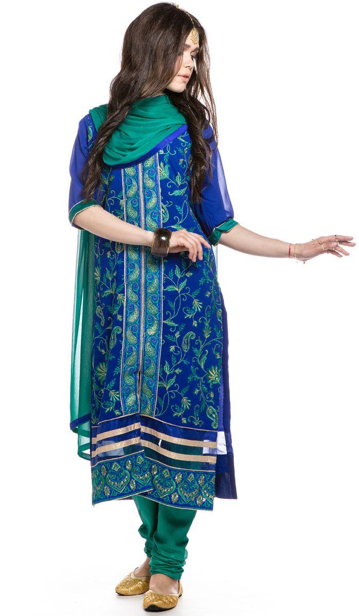 Синее панджаби, национальная индийская одежда, одежда из Индии, Punjabi, indian clothes, India. 16 200 рублей