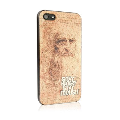 Leonardo da Vinci cover for iPhone 5 and 5s with inside logo Stay Hungry Stay Foolish inside. It protects your Apple smartphone from bumps, drops, scratches and dirt allowing free access to touch screen, controls, ports, speaker and camera with the security of a total protection. Rely on the most famous characters who, in harmony with the philosophy Apple, have left their mark in history. What celebrity do you look like most?