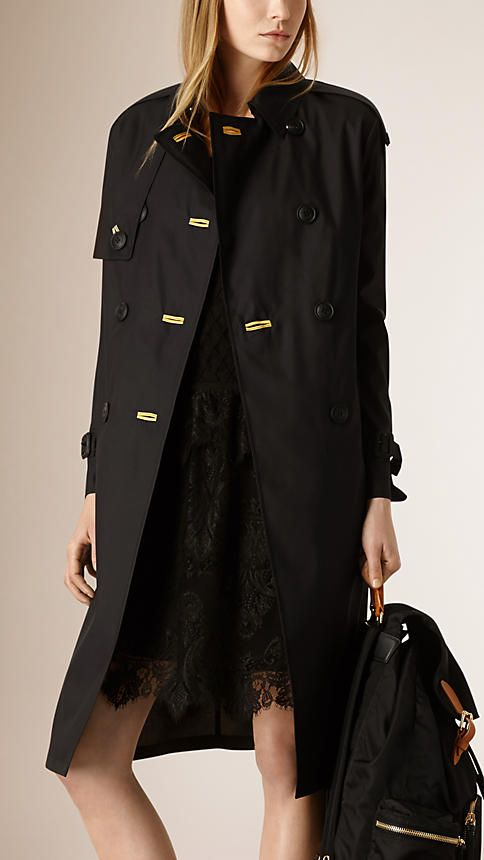 Burberry ultra-lightweight trench coat in a crisp weatherproof silk wool blend cloth with regimental goldwork cording. Discover the women's outerwear collection at Burberry.com