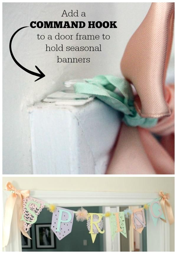 Command Hook solution for seasonal banners. This would work for hanging Christmas lights, too.