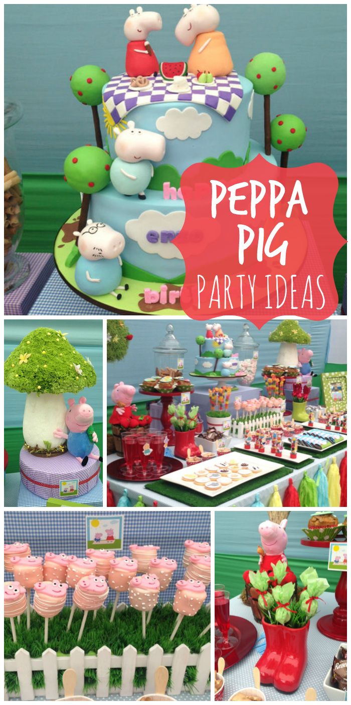 An amazing Peppa Pig girl birthday party with party decorations and a beautiful cake! See more party ideas at CatchMyParty.com!