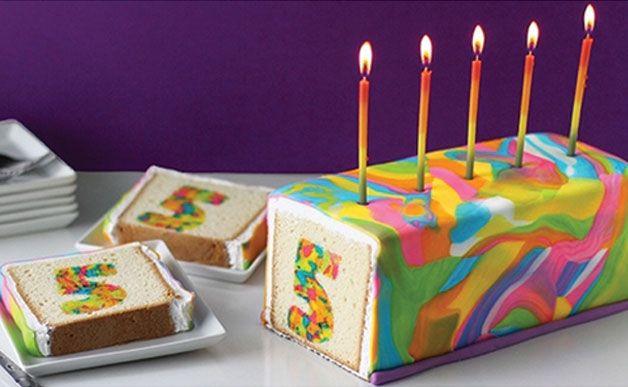 Amazing Rainbow Tie-Dye Number Surprise Cake