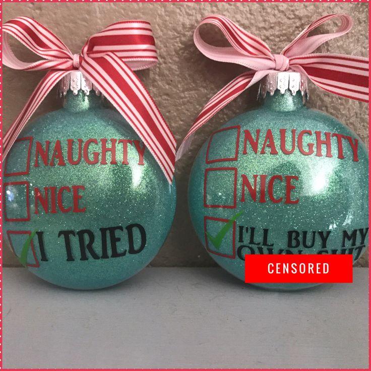 Naughty or nice, naughty, Nice list, Glass Ornament