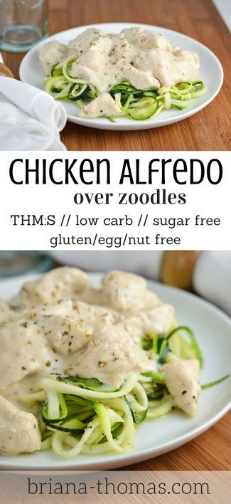 Chicken Alfredo over Zoodles...it's chicken alfredo the healthy way!  THM:S, low carb, sugar free, gluten/egg/nut free