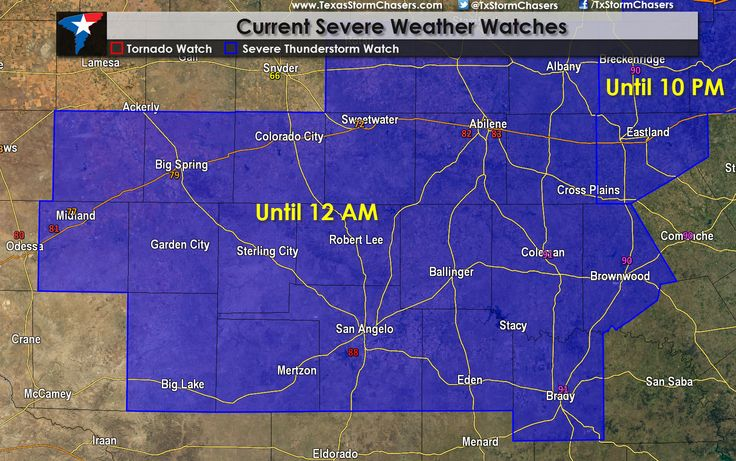 Severe Thunderstorm Watch until 12 AM CDT for Concho Valley Severe Thunderstorm Watch now in effect until Midnight for portions of West-Central Texas and the Concho Valley. This watch includes Midland, Colorado City, Abilene, Big Lake, San Angelo, Brady, and Brownwood. Large hail up to the size of golfballs can be expected from the strongest storms along... Read the whole article at http://texasstormchasers.com/?p=32546 - David Reimer