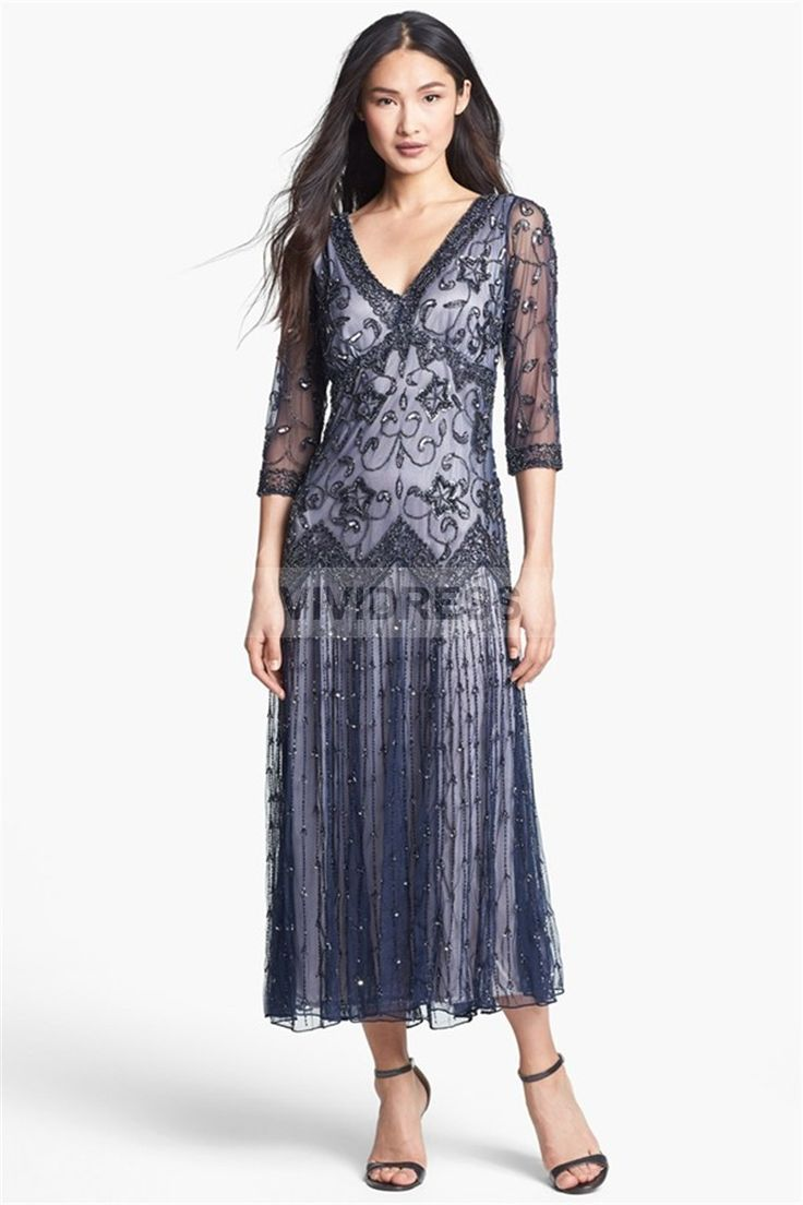Elegant A-line Tea-length V-neck 3/4-Length Sleeve Zipper Lace Mother of the Bride Dresses