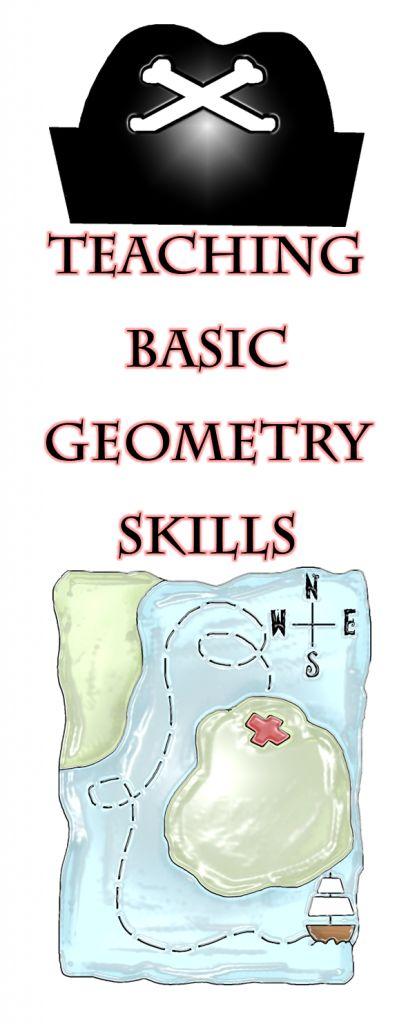 Teaching basic geometry skills with a pirate theme from Joy of Teaching at www.mrsjoyhall.com. FREE Bingo game!
