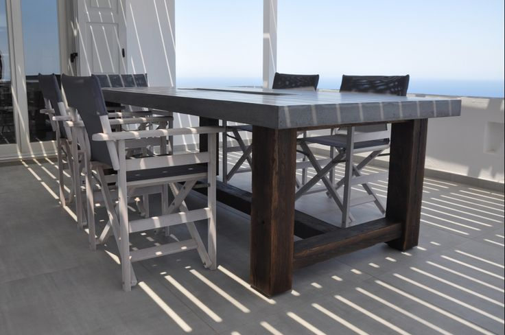 Outdoor dining table, custom made, concrete and solid chestnut, outdoor living, greek style