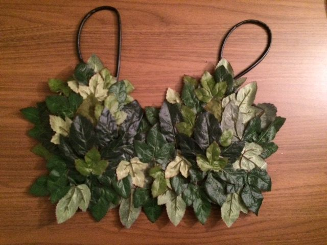 The perfect Poison Ivy costume top! Can also use for a mother nature or Eve costume! Made with synthetic green ivy leaves on a dark green cotton top.  Size: Small-Medium  Order now to get in time for Halloween! Look at my other listings for matching skirt and eye mask! *No refunds/returns