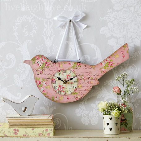 Pink Floral Bird Wall Clock: £12.95  http://www.livelaughlove.co.uk/Pink-Bird-Wall-Clock.html  Just the sweetest wall clock in the shape of a bird hanging from white ribbon in a bow.  Vintage script and pretty floral flowers make this an eye catching piece for your home.