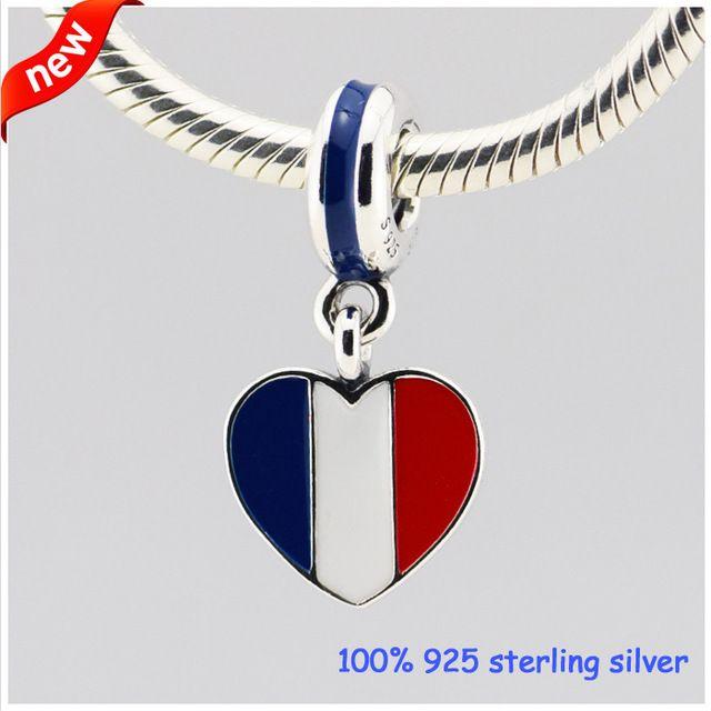 Франция флаг сердце Серебряные Подвески Лето Новый Стиль 925 Стерлингового Серебра Бисер DIY Ювелирных Изделий Оптовая 09235