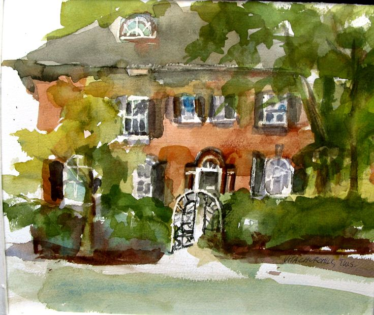 Watercolor, painted an plein air.  A wonderful example of Georgian architecture.  Located on Yonge St. in Toronto.