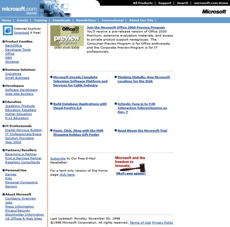 Microsoft website in 1998