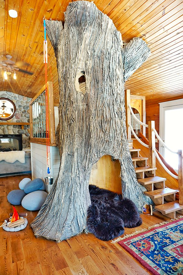 Indoor treehouse in a charming log home on a Minnesota farm