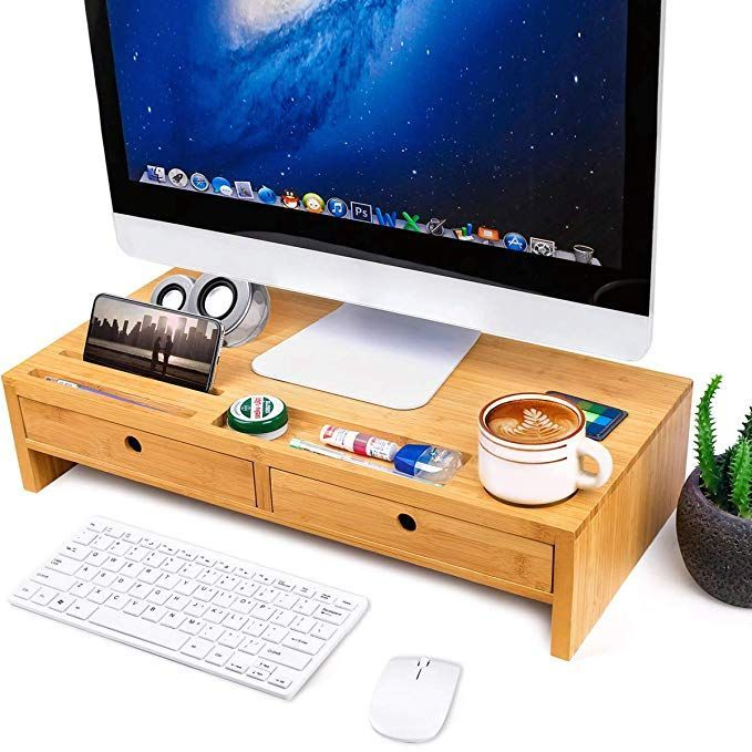 Bamboo Monitor Stand Riser With Drawers Sturdy Desk Organizer Laptop Stand With Ideas Of Laptop Stands Laptopst In 2020 Laptop Stand Desk Organization Monitor Stand