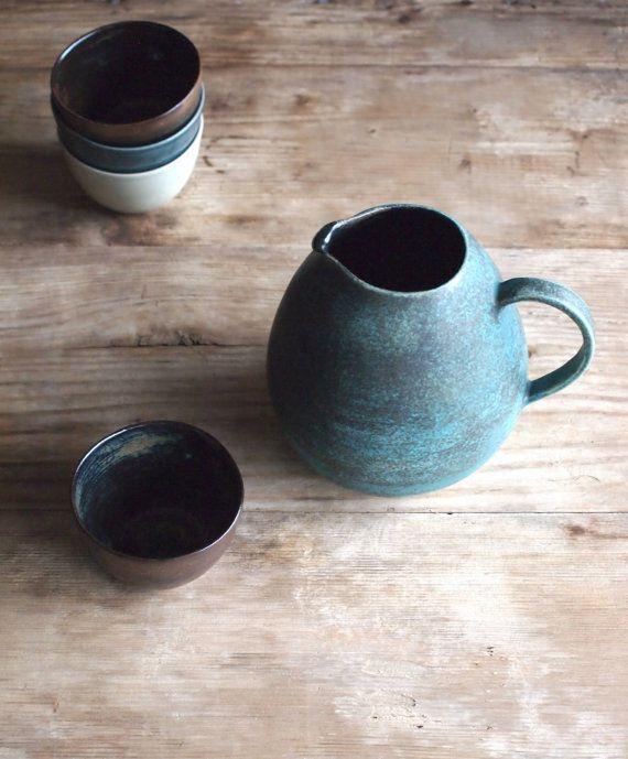 Stoneware Teapot, Keramik Pitcher, Green and Black Glazing. Pottery Handmade Stoneware. Stoneware Pitcher. Milk Jug. Coffee Pot. Water Jug.