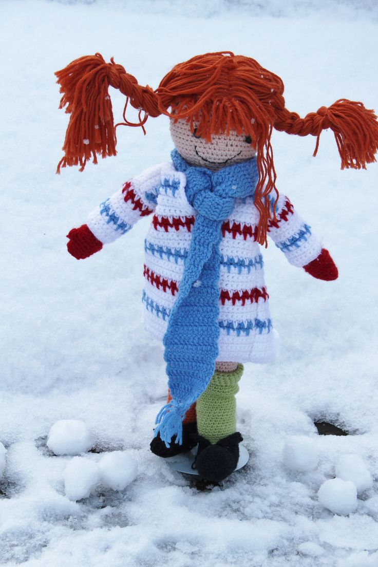 Pippi in de sneeuw, hai die Pippi Langkous. Mooie pop om te haken. Crochet doll Pippi