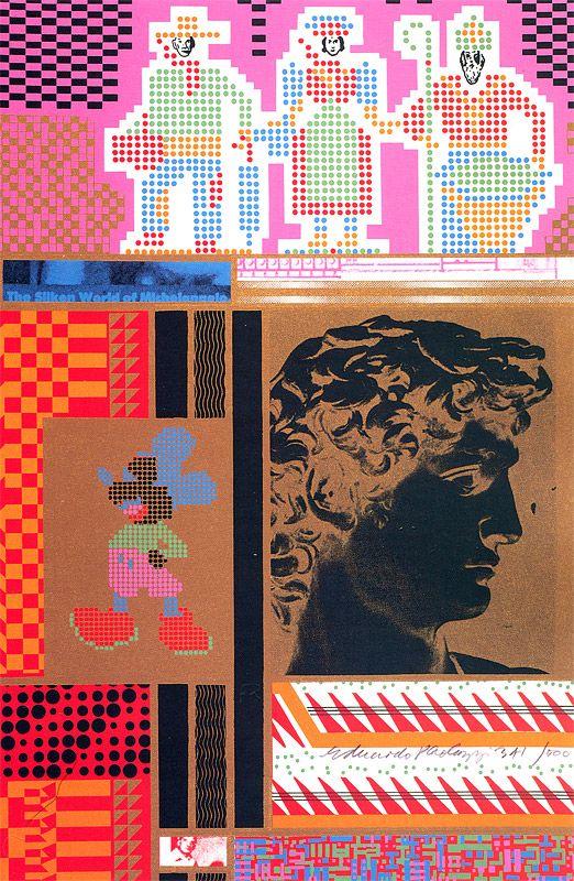 "1967. Eduardo Paolozzi. ""Silke World of Michelangleo from Moonstrips Empire News""."