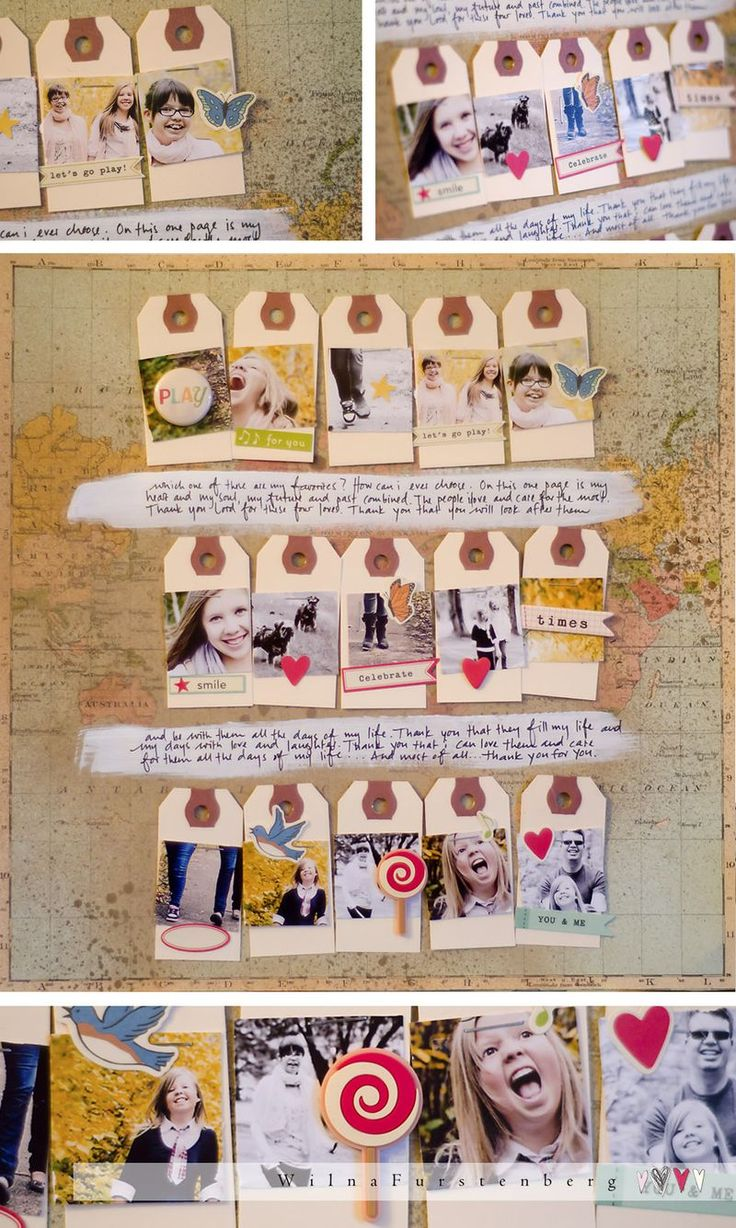 super sample of how to use busy background paper to make a layout where the photos don't get lost - and, of course, I adore the tags!