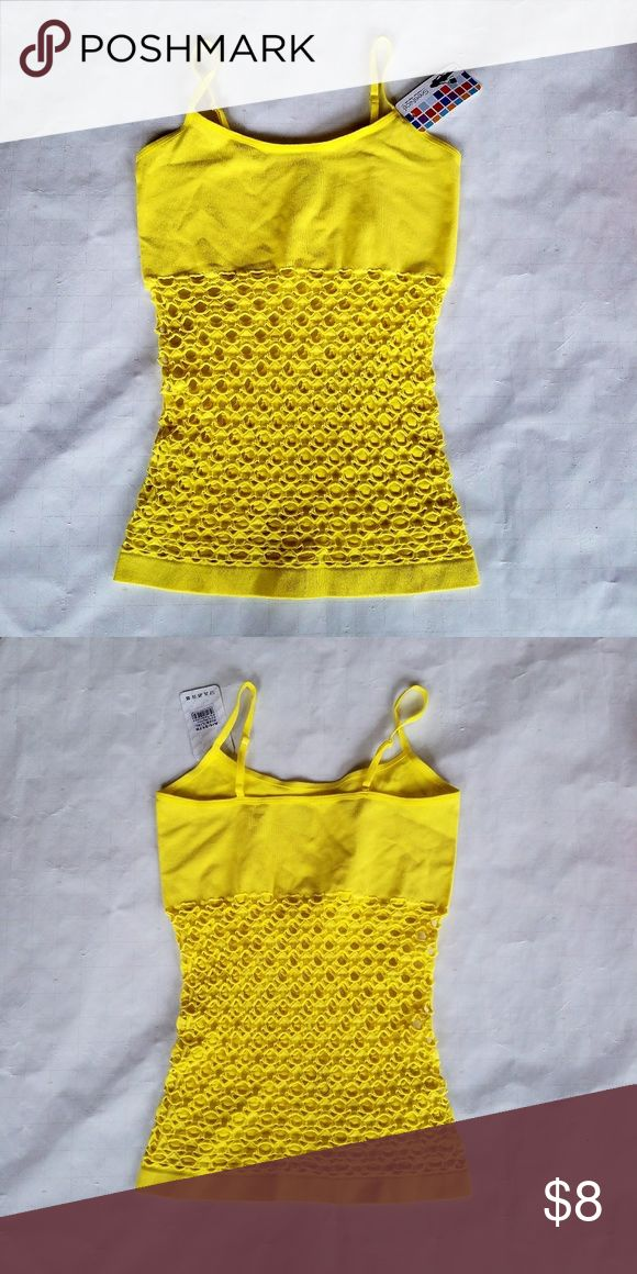 Sexy yellow tank top Yellow tank top cut-out pattern at midsection 13 inches underarm to underarm 16 inches under arm to hand 92% nylon 8% spandex listed as one size fits xx smal to xsmall listed as seamless underwear Tops Tank Tops