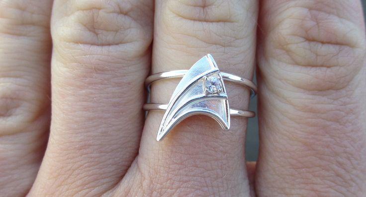 Star Trek insignia sterling silver engagement ring
