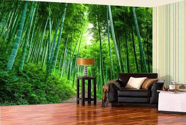 Papier peint photo zen effet 3D - Petit chemin dans la forêt de bambou