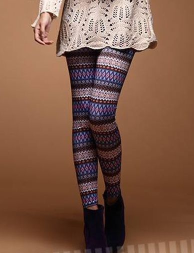 USD $5.00 Stylish Elastic Leggings in Ethnic Print-fashion leggings, cheap leggings, women's bottom, mix color