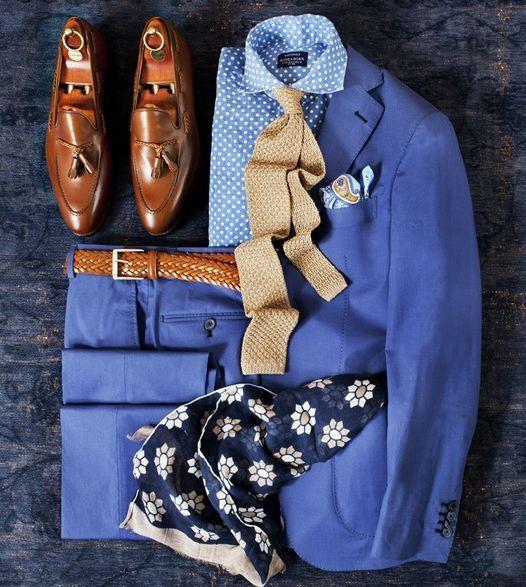 Blue Men's Suit Grid Photo                                                                                                                                                      Plus