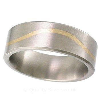 Geti Flat Titanium Yellow Wave Ring