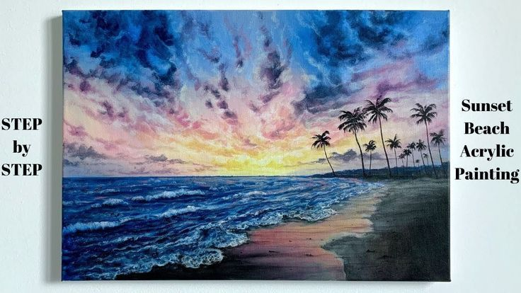 Sunset Beach Step By Step Acrylic Painting Tutorial Colorbyfeliks