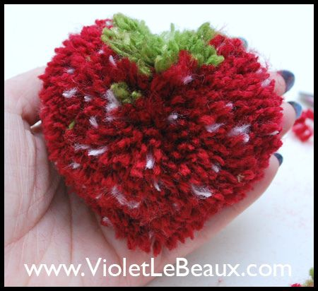 How To Make Strawberry Shaped Pompoms - Violet LeBeaux - Free Cute Craft and Beauty Tutorials